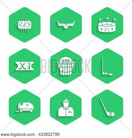 Set Hockey Helmet, Coach, Ice Hockey Stick, And Puck, Resurfacer, Sports Ticket, Stadium And Table I