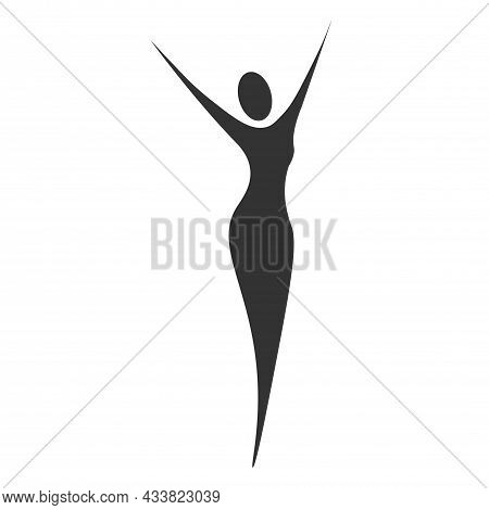 Slim Sexy Woman Standing With Her Hands Raised To The Top. For Logo, Advertising And Web Design. Wom