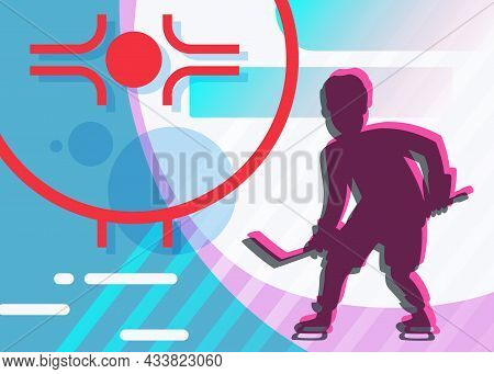Banner With Silhouette Of Hockey Player. Sport Placard Design In Cartoon Style.