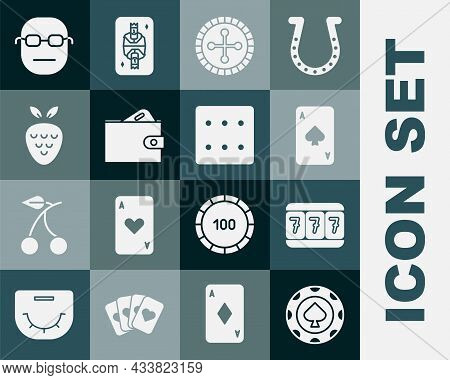 Set Casino Chips, Slot Machine With Lucky Sevens, Playing Card Spades, Roulette Wheel, Wallet Money,