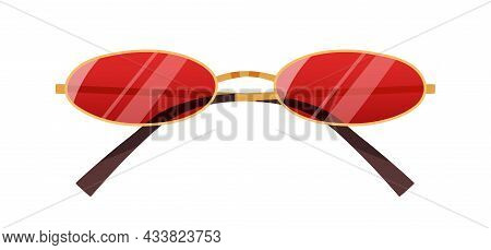 Fashion Sunglasses With Red Oval Lenses. Stylish Vintage Sun Glasses With Narrow Thin Gold Rim. Summ