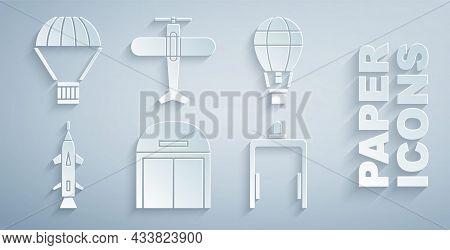 Set Aircraft Hangar, Hot Air Balloon, Rocket, Metal Detector In Airport, Plane And Box Flying Parach