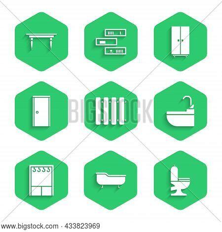 Set Heating Radiator, Bathtub, Toilet Bowl, Washbasin With Water Tap, Wardrobe, Closed Door, And Woo
