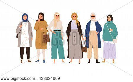 Arab Muslim Women In Modern Apparel And Headwear. Group Portrait Of Arabian Females In Casual Fashio