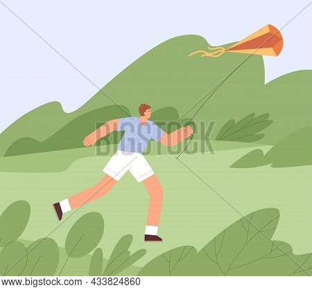 Person Running Forward With Air Kite Flying, Holding It With String, Enjoying Game With Wind. Happy