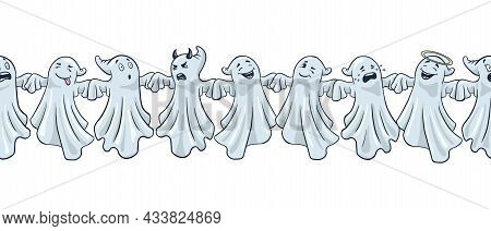 Funny Ghosts Border. Cartoon Style. Hand Drawn Halloween Cute Spooks Border. Premium Vector