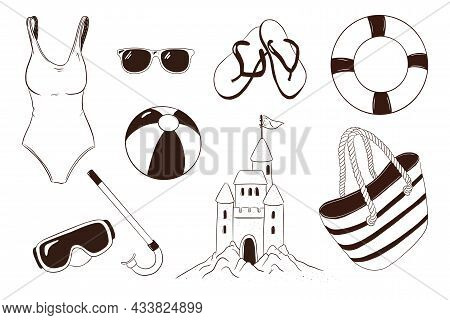 Summer Leisure Items Collection. Hand Drawn Sea Vacation Activities Accessories. Snorkel Goggles, Sw