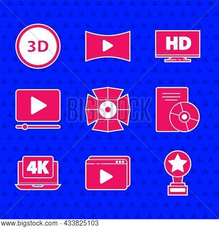 Set Movie Spotlight, Online Play Video, Trophy, Cd Or Dvd Disk, Laptop With 4k, Smart Display Hd And