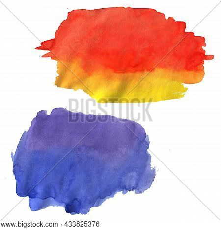 Set Of Colorful Watercolor Stains. Collection Of Watercolour Spots For Decoration, Poster, Banner, G