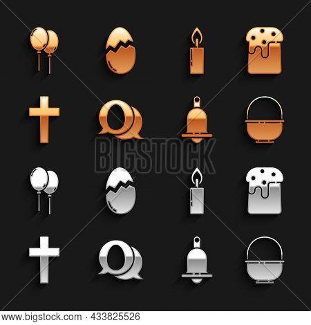 Set Speech Bubble With Easter Egg, Easter Cake, Basket, Ringing Bell, Christian Cross, Burning Candl
