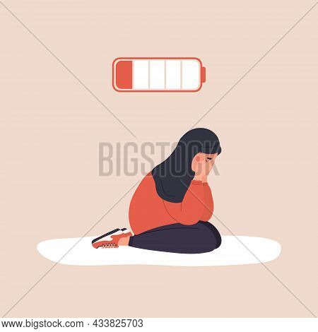 Professional Burnout. Exhausted Arab Girl With Low Battery Sitting On Floor And Crying. Mental Healt