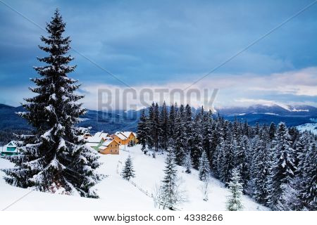 Evening Mountains And Village