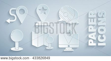 Set Folded Map With Push Pin, Infographic Of City Navigation, Push, Monitor Location Marker, Map Poi
