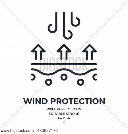 Wind Protection And Cold Weather Proof Concept Editable Stroke Outline Icon Isolated On White Backgr