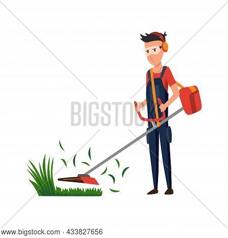 Professional Gardener Working On Backyard And Mowing Lawn With Electric Mower. Male Handyman Cutting