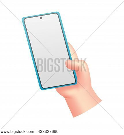 Cartoon Hand With Phone. Human Holding Phone With Empty Screen. Mock Up Of Social Network Communicat