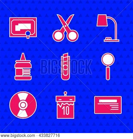 Set Stationery Knife, Calendar, Business Card, Magnifying Glass, Cd Or Dvd Disk, Glue, Table Lamp An