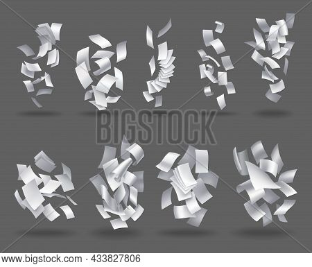 Collection Of Realistic Falling Paper Sheets. Set Of Flying Curved Leaves Of Paper. Vector Loose Soa