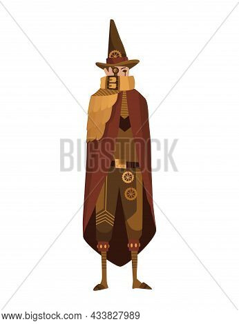 Steampunk Fashion Technology, Fantasy Vintage Illustration With Cartoon Man In Steampunk Costume. St