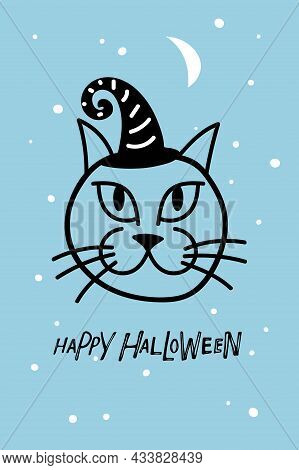 Halloween Card With Cat Muzzle In Witch Hat Cap And Happy Halloween Text. Black Linear Cute Kitten S