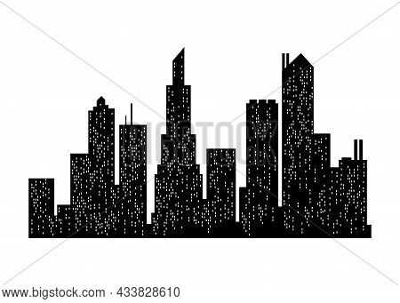 Cityscape Silhouette. City Building, Night Town And Horizontal Urban Panorama Silhouette. Modern Urb