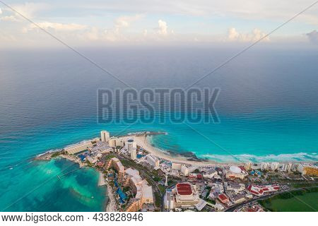 Aerial Panoramic View Of Cancun Beach And City Hotel Zone In Mexico. Caribbean Coast Landscape Of Me