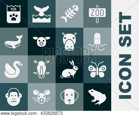 Set Frog, Butterfly, Octopus, Fish Skeleton, Pig, Whale, Bag Of Food And Hippo Or Hippopotamus Icon.