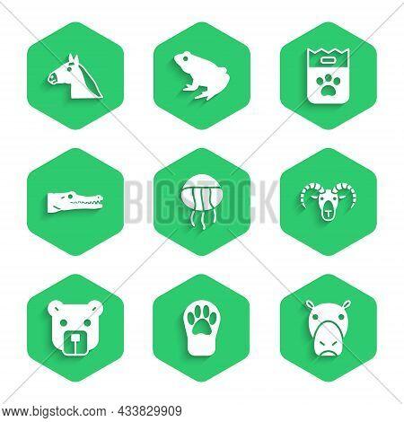 Set Jellyfish, Paw Print, Hippo Or Hippopotamus, Head Of Goat Ram, Bear Head, Crocodile, Bag Food An