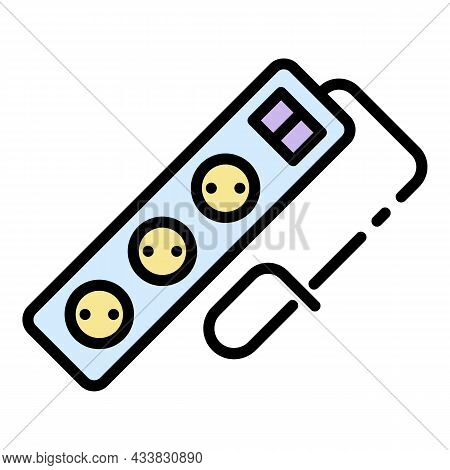 Tripled Wire Socket Icon. Outline Tripled Wire Socket Vector Icon Color Flat Isolated