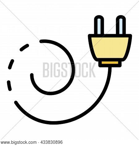 Extension Plug Cord Icon. Outline Extension Plug Cord Vector Icon Color Flat Isolated