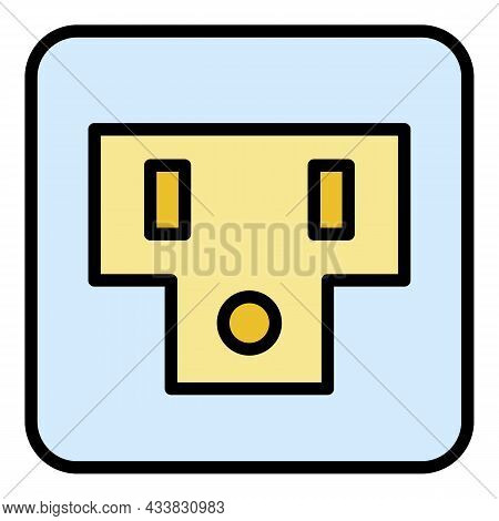 Usa Socket Icon. Outline Usa Socket Vector Icon Color Flat Isolated
