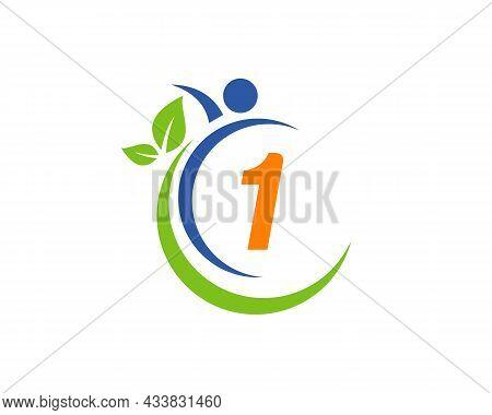 Human Health Logo On Letter 1. Letter 1 Health Care Logo Template. Medical Logo Template Vector Illu