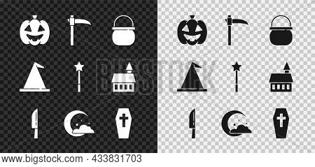 Set Pumpkin, Scythe, Halloween Witch Cauldron, Knife, Moon And Stars, Coffin With Cross, Witch Hat A