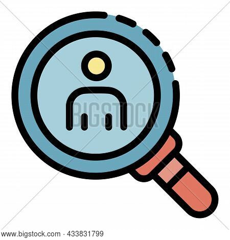 Man Under Magnifying Glass Icon. Outline Man Under Magnifying Glass Vector Icon Color Flat Isolated