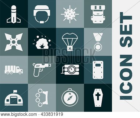 Set Coffin With Cross, Military Assault Shield, Reward Medal, Naval Mine, Bomb Explosion, Japanese N