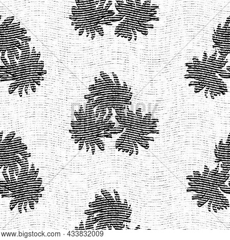 Seamless Floral Black White Woven Herringbone Style Texture. Two Tone 50s Monochrome Pattern. Modern