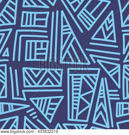 Seamless Abstract Black Pattern On Blue Background. Vector Doodle Image. Graphic Triangles  Ornament