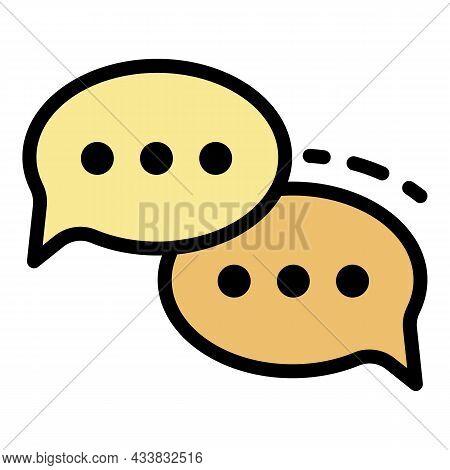 Conversational Bubbles Icon. Outline Conversational Bubbles Vector Icon Color Flat Isolated