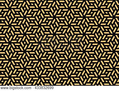 Abstract Geometric Pattern. A Seamless Vector Background. Gold And Black Ornament. Graphic Modern Pa