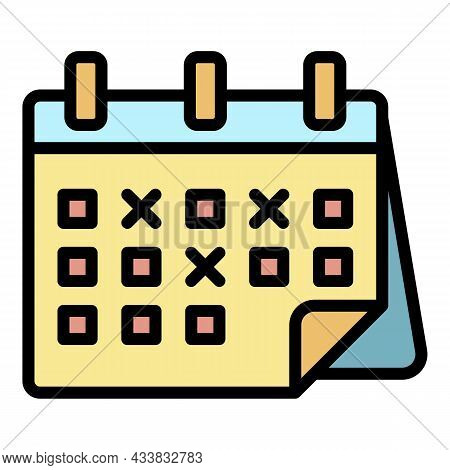 Marked Calendar Dates Icon. Outline Marked Calendar Dates Vector Icon Color Flat Isolated