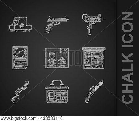 Set Advertising Weapon, Military Ammunition Box, Hunting Gun, Firearms License Certificate, Uzi Subm
