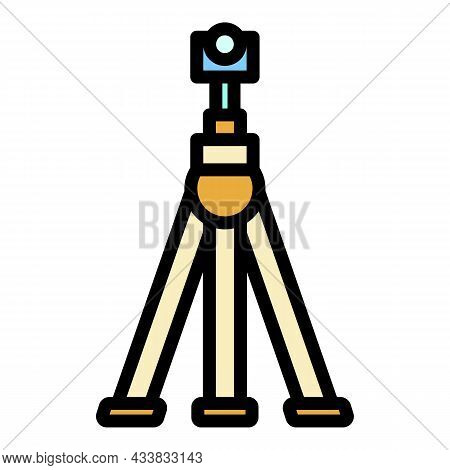 Camera On Tripod Icon. Outline Camera On Tripod Vector Icon Color Flat Isolated