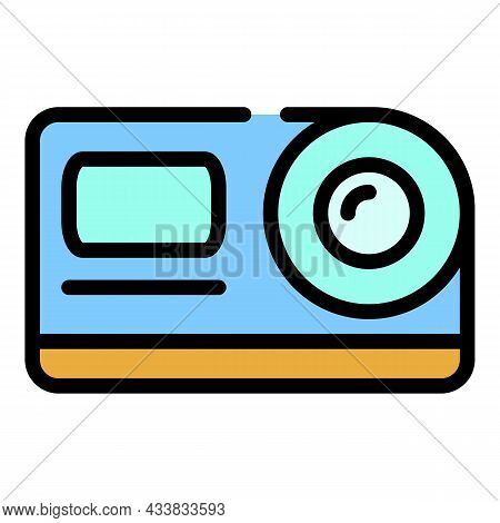 Action Camera Front View Icon. Outline Action Camera Front View Vector Icon Color Flat Isolated