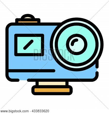 Action Camera With Lens Icon. Outline Action Camera With Lens Vector Icon Color Flat Isolated