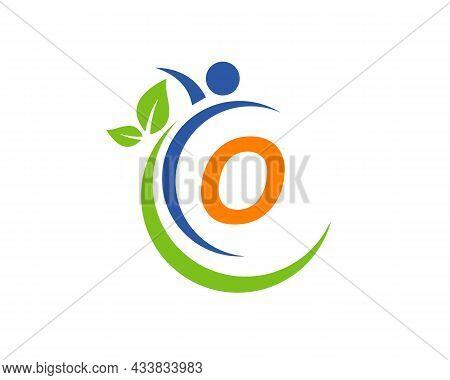 Human Health Logo On Letter O. Letter O Health Care Logo Template. Medical Logo Template Vector Illu