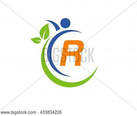 Human Health Logo On Letter R. Letter R Health Care Logo Template. Medical Logo Template Vector Illu