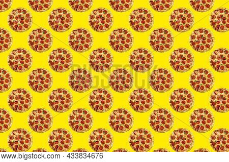 Delicious Pepperoni Pizza On Colored Background, Fast Food Or Pizzeria Design, Seamless Pattern