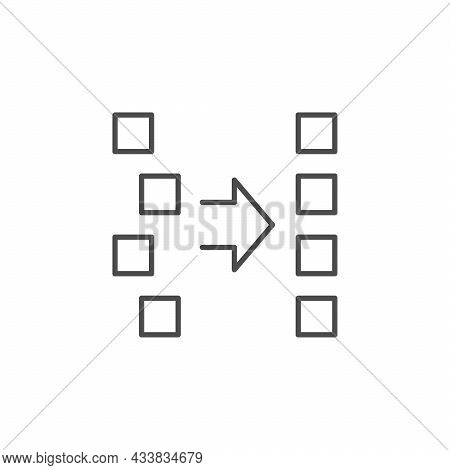 Ordering Or Alignment Line Outline Icon Isolated On White