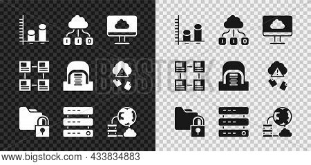 Set Data Analysis, Cloud Technology Data Transfer, Folder And Lock, Server, Data, Web Hosting, Netwo