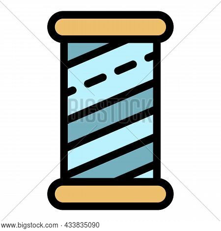 Wood Cylinder Thread Icon. Outline Wood Cylinder Thread Vector Icon Color Flat Isolated